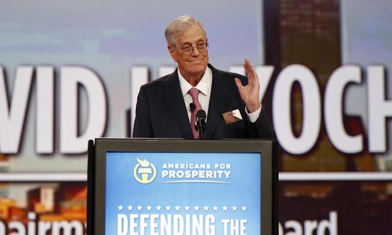 David Koch speaks at an Americans for Prosperity event in Columbus, Ohio, in 2015.
