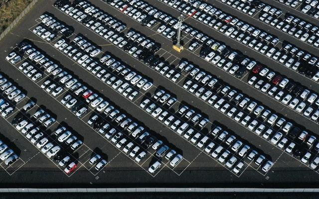 New cars in a compound near Sheerness in Kent