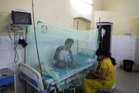 A dengue patient rests under a mosquito net at the dengue ward of a government hospital in Prayagraj, Uttar Pradesh state, India, Wednesday, Sept. 15, 2021. Officials say infections following monsoon rains have led to a fever outbreak in this northern state, killing more than hundred people in the past three weeks. The state's health minister told The Associated Press that most cases were caused by dengue, a seasonal viral infection spread by mosquitoes, followed by leptospirosis, scrub typhus, and malaria. (AP Photo/Rajesh Kumar Singh)