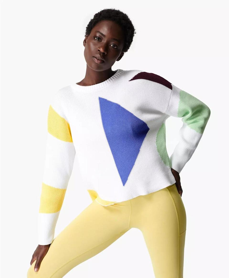 """<p><strong>Flash Dance Cotton Sweater</strong></p><p>sweatybetty.com</p><p><strong>$148.00</strong></p><p><a href=""""https://go.redirectingat.com?id=74968X1596630&url=https%3A%2F%2Fwww.sweatybetty.com%2Fus%2Fshop%2Ftops%2Fsweatshirts-and-hoodies%2Fflash-dance-cotton-sweater-SB6305_LilyWhiteMulti.html&sref=https%3A%2F%2Fwww.prevention.com%2Ffitness%2Fworkout-clothes-gear%2Fg36840253%2Fbest-athleisure-brands%2F"""" rel=""""nofollow noopener"""" target=""""_blank"""" data-ylk=""""slk:Shop Now"""" class=""""link rapid-noclick-resp"""">Shop Now</a></p><p>Sweat somehow just looks better in <a href=""""https://go.redirectingat.com?id=74968X1596630&url=https%3A%2F%2Fwww.sweatybetty.com%2Fus&sref=https%3A%2F%2Fwww.prevention.com%2Ffitness%2Fworkout-clothes-gear%2Fg36840253%2Fbest-athleisure-brands%2F"""" rel=""""nofollow noopener"""" target=""""_blank"""" data-ylk=""""slk:Sweaty Betty"""" class=""""link rapid-noclick-resp""""><strong>Sweaty Betty</strong></a> athleisure. Few leggings are more flattering than those from this British brand, which makes a wide range of clothing including this beautiful transitional <a href=""""https://go.redirectingat.com?id=74968X1596630&url=https%3A%2F%2Fwww.sweatybetty.com%2Fus%2Fshop%2Ftops%2Fcoats-and-jackets%2Ffestival-poncho-SB6350_NavyBlue.html&sref=https%3A%2F%2Fwww.prevention.com%2Ffitness%2Fworkout-clothes-gear%2Fg36840253%2Fbest-athleisure-brands%2F"""" rel=""""nofollow noopener"""" target=""""_blank"""" data-ylk=""""slk:recycled plastic poncho"""" class=""""link rapid-noclick-resp"""">recycled plastic poncho</a> and a one-of-a-kind <a href=""""https://go.redirectingat.com?id=74968X1596630&url=https%3A%2F%2Fwww.sweatybetty.com%2Fus%2Fshop%2Ftops%2Fsweatshirts-and-hoodies%2Fflash-dance-cotton-sweater-SB6305_LilyWhiteMulti.html&sref=https%3A%2F%2Fwww.prevention.com%2Ffitness%2Fworkout-clothes-gear%2Fg36840253%2Fbest-athleisure-brands%2F"""" rel=""""nofollow noopener"""" target=""""_blank"""" data-ylk=""""slk:geometric print sweater"""" class=""""link rapid-noclick-resp"""">geometric print sweater</a>.</p>"""
