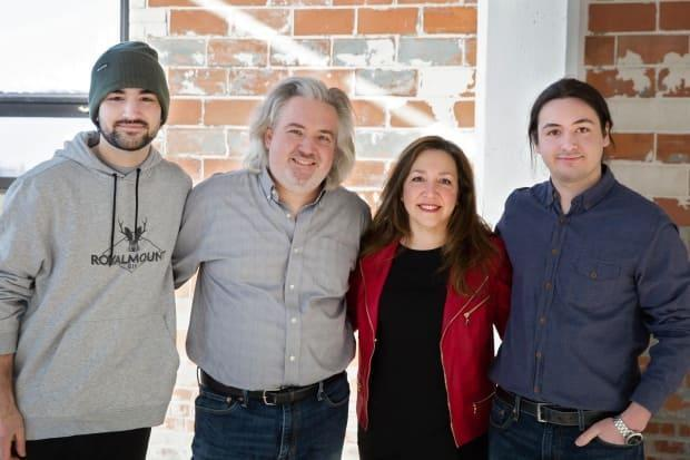 Maureen David, co-owner and president of 1769 distillery in Lachine, is pictured with her family. She says the family business has plenty of room to expand, but Quebec's current spirit regulations are stunting its growth. (1769 Distillery - image credit)
