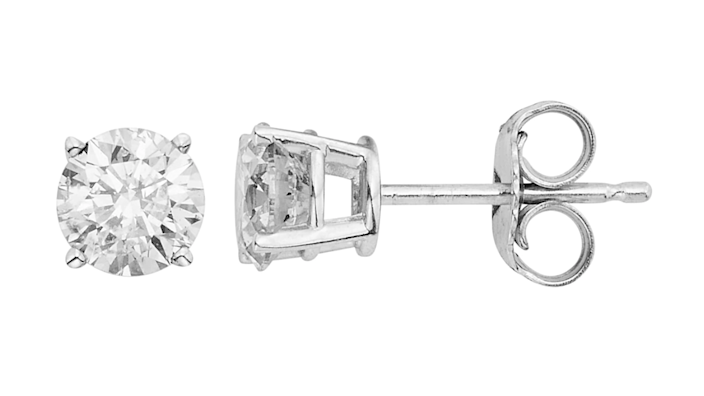 You won't believe the price of these round-cut diamond studs.