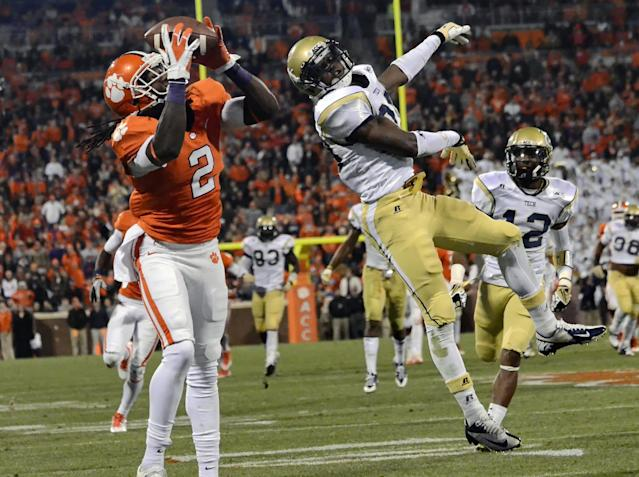 Clemson wide receiver Sammy Watkins, left, pulls in a touchdown reception over Georgia Tech's D.J. White during the first half of an NCAA college football game Thursday, Nov. 14, 2013, in Clemson, S.C.(AP Photo/ Richard Shiro)
