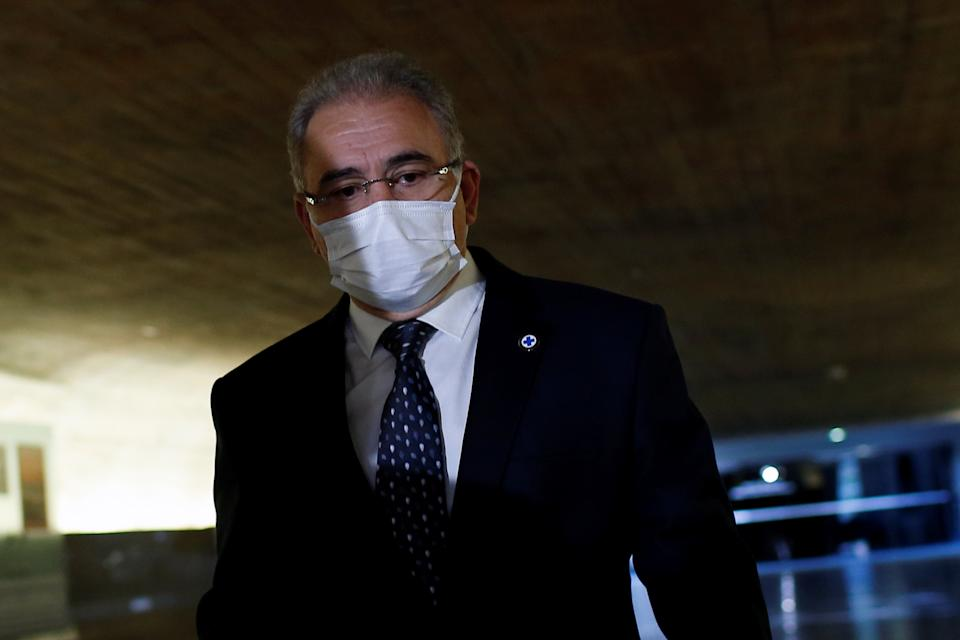Brazil's Health Minister Marcelo Queiroga walks before a meeting of the Parliamentary Inquiry Committee (CPI) to investigate government actions and management during the coronavirus disease (COVID-19) pandemic, at the Federal Senate in Brasilia, Brazil June 8, 2021. REUTERS/Adriano Machado
