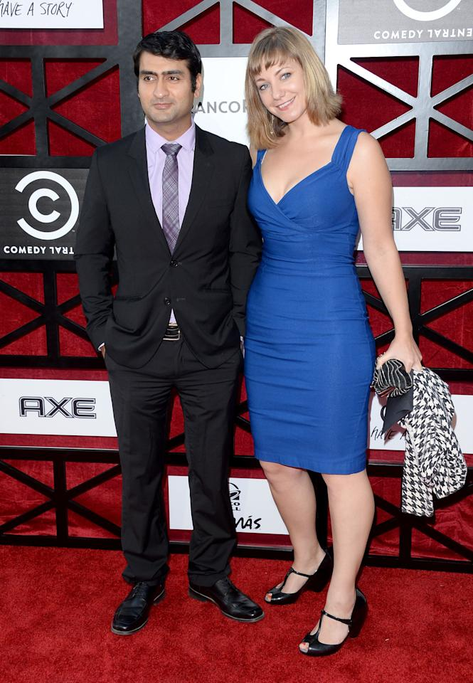 "Kumail Nanjiani and Emily V. Gordon attend ""The Comedy Central Roast of James Franco"" at Culver Studios on August 25, 2013 in Culver City, California."