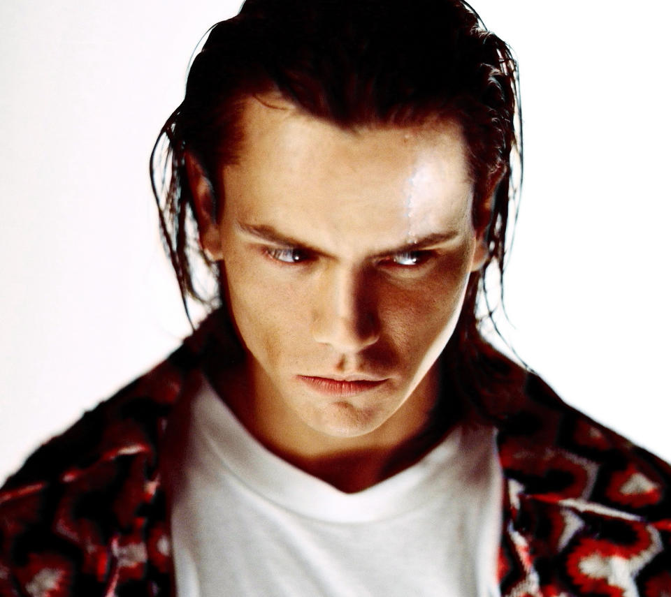 LOS ANGELES: Actor River Phoenix poses at a photo shoot in a studio in Los Angeles,California. These were the last photos shot of River Phoenix who died on October 31, 1993 from an overdose of heroin and cocaine at the age of only 23.(Photo by Michael Tighe/Donaldson Collection/Getty Images)