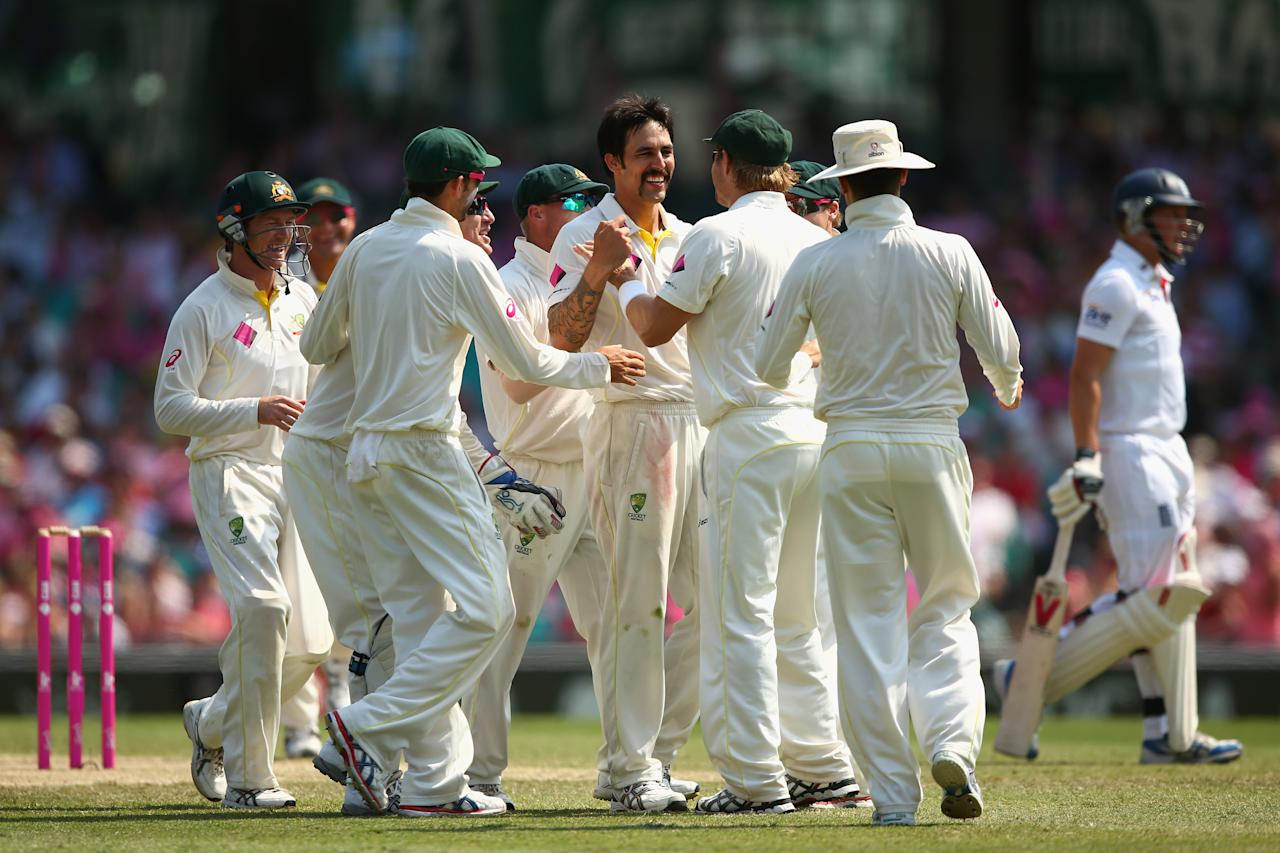 SYDNEY, AUSTRALIA - JANUARY 05:  Mitchell Johnson of Australia celebrates dismissing Gary Ballance of England for lbw during day three of the Fifth Ashes Test match between Australia and England at Sydney Cricket Ground on January 5, 2014 in Sydney, Australia.  (Photo by Cameron Spencer/Getty Images)