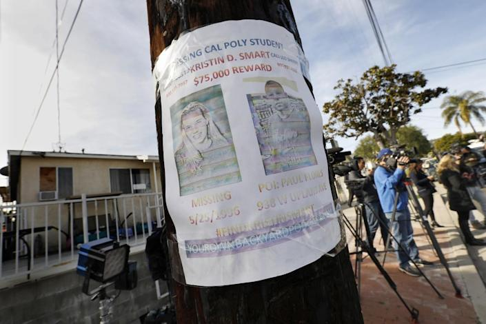 A missing person flyer is still posted on a telephone pole across the street from the home of Paul Flores in San Pedro.