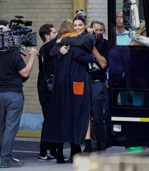 The supermodel was spotted in the trendy piece during rehearsals with gal-pal and fellow VS model Kendall Jenner.