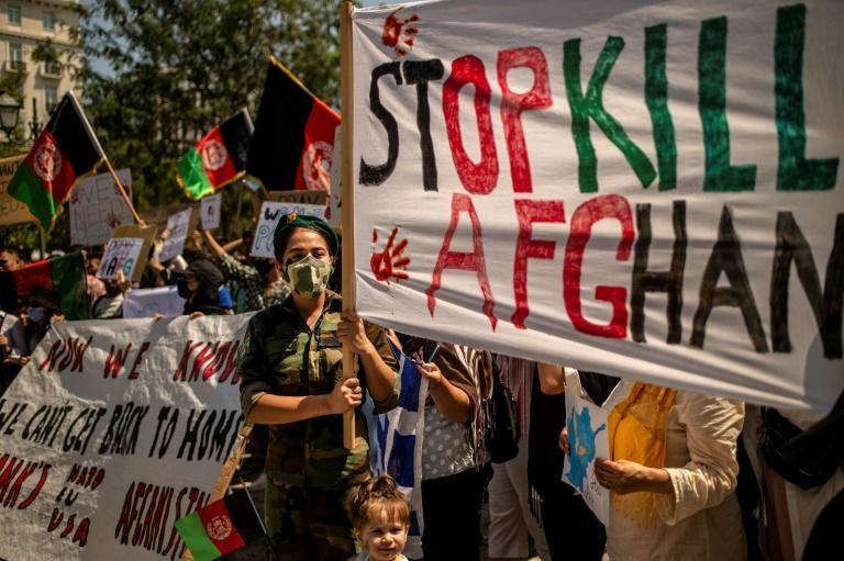 Afghans demonstrate in Athens against the Taliban takover of their country
