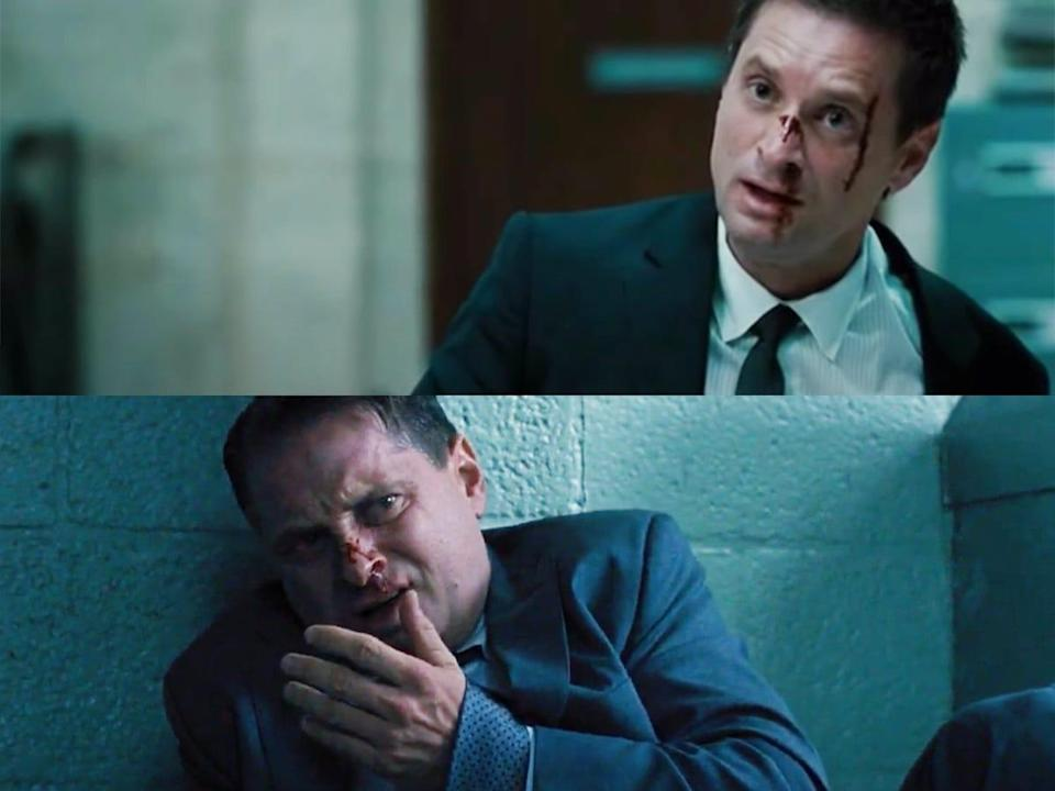 """Shea Whigham as Michael Stasiak with a bloodied face and nose in """"Fast & Furious"""" and """"Fast & Furious 6."""""""