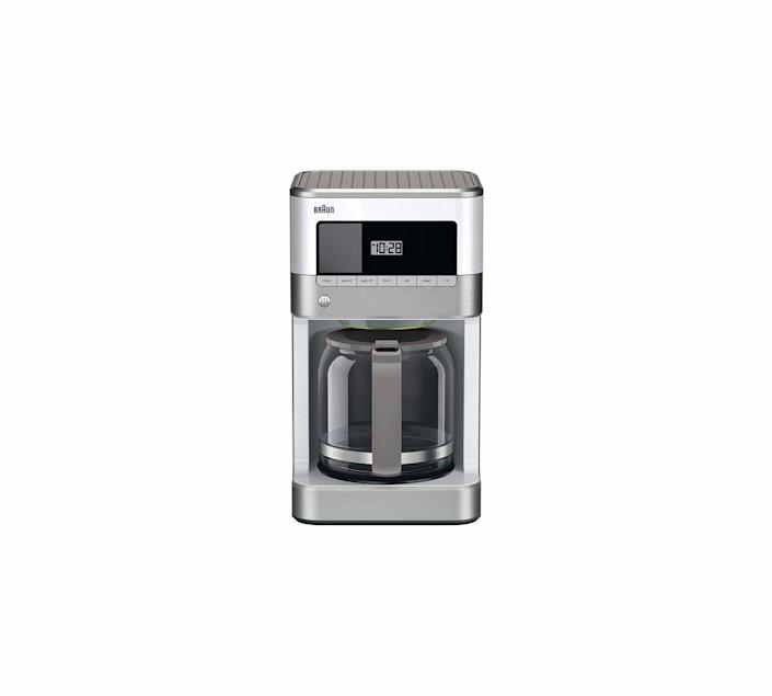 """<p><strong>Braun</strong></p><p>amazon.com</p><p><strong>$109.95</strong></p><p><a href=""""https://www.amazon.com/dp/B07CPJF2BG?tag=syn-yahoo-20&ascsubtag=%5Bartid%7C10060.g.37002009%5Bsrc%7Cyahoo-us"""" rel=""""nofollow noopener"""" target=""""_blank"""" data-ylk=""""slk:Shop Now"""" class=""""link rapid-noclick-resp"""">Shop Now</a></p><p>To make the best cup of coffee, you need top-notch equipment—but you don't necessarily need to break the bank. Braun's BrewSense coffee maker offers consistent drip brews at either regular or bold strength. And the LCD display allows you to program it to start brewing one to four cups at any time of day, so your coffee is ready just the way you like it.</p>"""