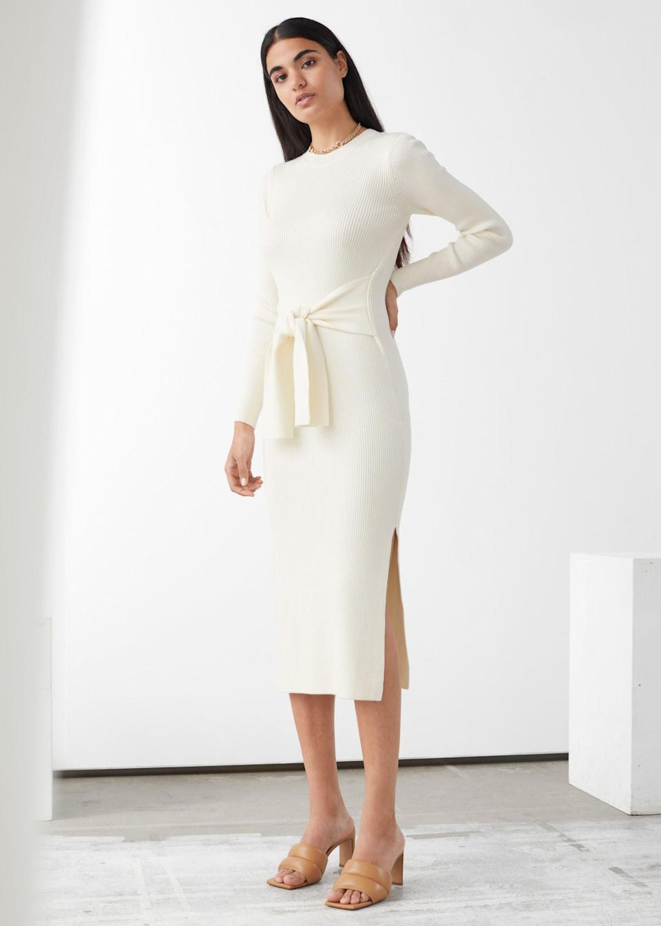 """<br><br><strong>& Other Stories</strong> Belted Rib Midi Dress, $, available at <a href=""""https://go.skimresources.com/?id=30283X879131&url=https%3A%2F%2Fwww.stories.com%2Fen_usd%2Fclothing%2Fdresses%2Fmidi-dresses%2Fproduct.belted-rib-midi-dress-white.0833188001.html"""" rel=""""nofollow noopener"""" target=""""_blank"""" data-ylk=""""slk:& Other Stories"""" class=""""link rapid-noclick-resp"""">& Other Stories</a>"""