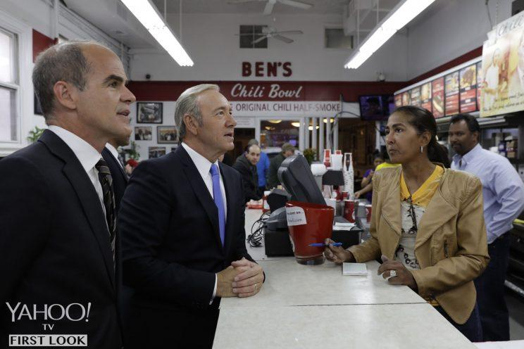President Underwood and his right-hand man visit Ben's Chili Bowl in Washington, D.C.