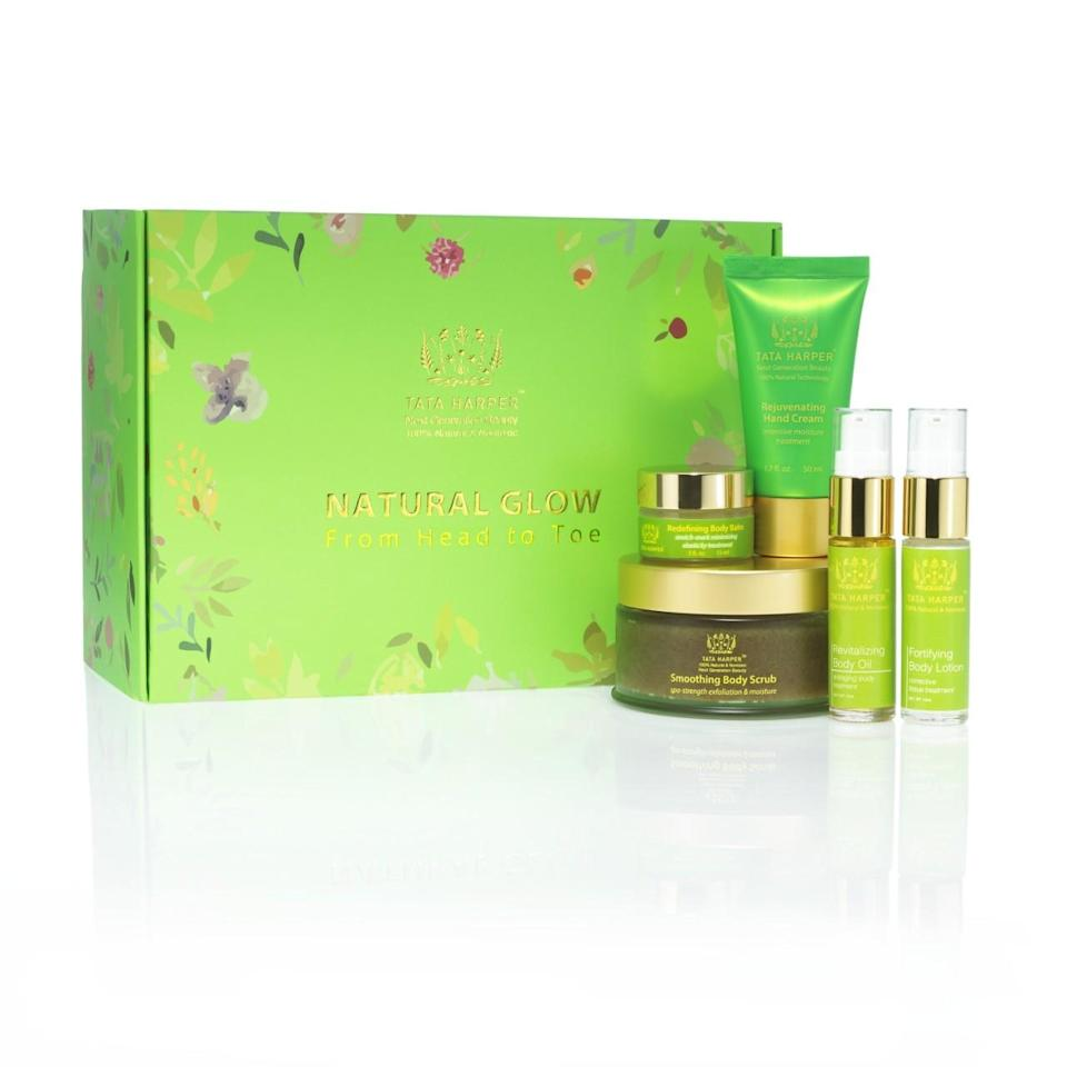 """<p>Pick up this set for your natural beauty-loving pal. Included is everything you need to revitalize winter skin. <a href=""""http://www.tataharperskincare.com/natural-glow-from-head-to-toe"""" rel=""""nofollow noopener"""" target=""""_blank"""" data-ylk=""""slk:Tata Harper Natural Glow from Head to Toe"""" class=""""link rapid-noclick-resp"""">Tata Harper Natural Glow from Head to Toe</a> ($115) <br></p>"""