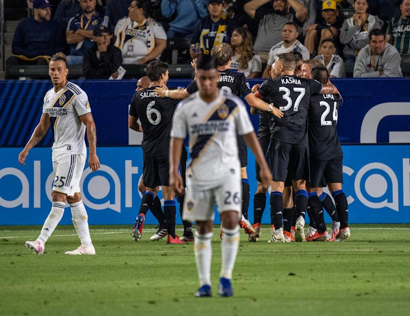CARSON, CA - JULY 12: San Jose celebrates their third goal by Jackson Yueill #14 of San Jose Earthquakes during the Los Angeles Galaxy's MLS match against San Jose Earthquakes at the Dignity Health Sports Park on July 12, 2019 in Carson, California. San Jose won the match 3-1 (Photo by Shaun Clark/Getty Images)
