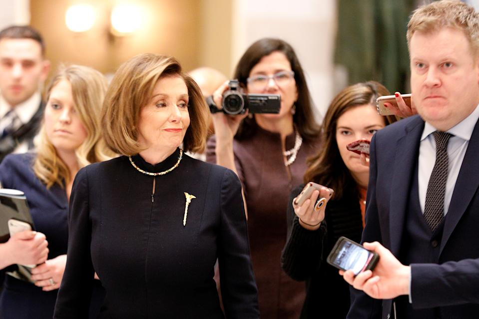 Pelosi is known to wear the gold mace brooch to symbolize her authority as Speaker of the House. (Photo: REUTERS/Tom Brenner)