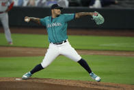 Seattle Mariners starting pitcher Taijuan Walker throws during the fourth inning of a baseball game against the Los Angeles Angels, Thursday, Aug. 6, 2020, in Seattle. (AP Photo/Ted S. Warren)