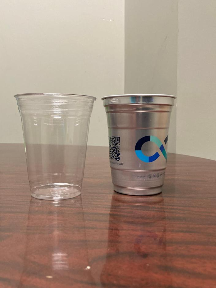 The City of Savannah has successfully piloted all-aluminum to-go cups, right, in place of plastic for bars and restaurants.