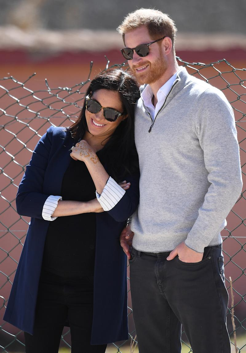 Prince Harry, Duke of Sussex, and Meghan Markle, Duchess of Sussex, visit Lycée Qualifiant Grand Atlas and meet students and teachers in Asni Town, Atlas Mountains, Morocco, on the 24th February 2019. Picture by James Whatling