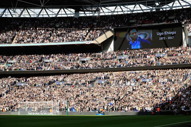 <p>Wembley pays tribute to former England defender Ugo Ehiogu, who died on Friday morning after suffering a cardiac arrest </p>