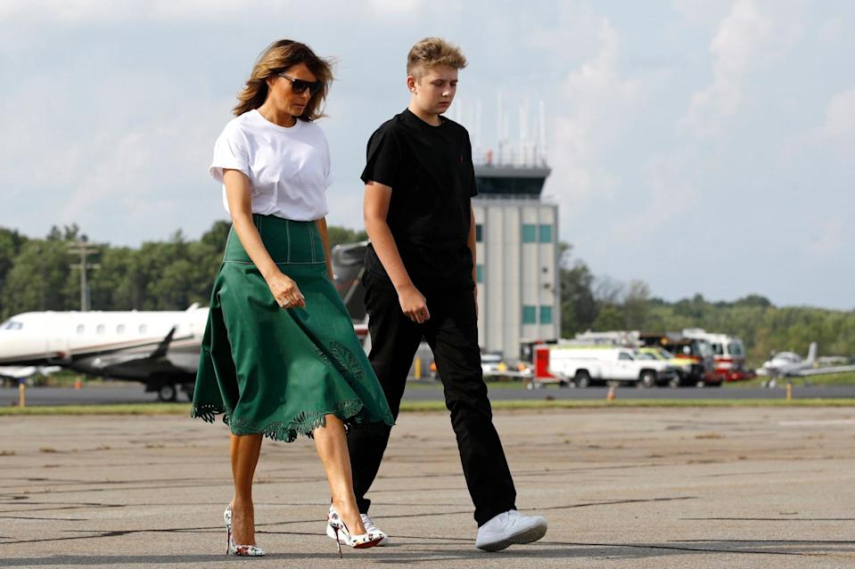 Melania with Barron, 14, on the campaign trail (Rex/Shutterstock)
