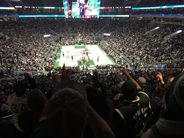 The Clutch Crew makes its presence known from Section 112 inside Fiserv Forum. (Yahoo Sports)