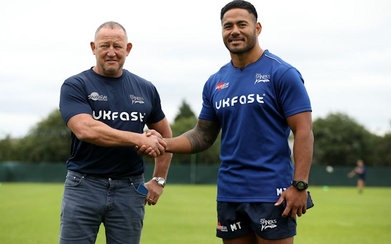 Steve Diamond, the Sale Sharks director of rugby, welcomes new signing Manu Tuilagi to their Carrington Training Ground on July 14, 2020 in Manchester, England - Getty Images Europe/David Rogers