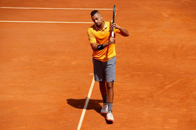 Nick Kyrgios walked off the court at the Italian Open after a temper tantrum during his second-round match with Casper Ruud. (Getty Images)