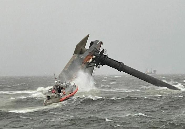 Capsized lift boat Seacor Power  is seen in Gulf of Mexico off Port Fourchon, Louisiana on April 13, 2021. / Credit: U.S. Coast Guard handout