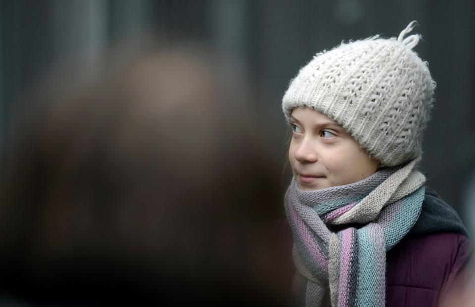 Swedish climate activist Greta Thunberg takes part in a protest outside the EU Council as EU environment ministers meet in Brussels, Belgium, March 5, 2020. REUTERS/Johanna Geron