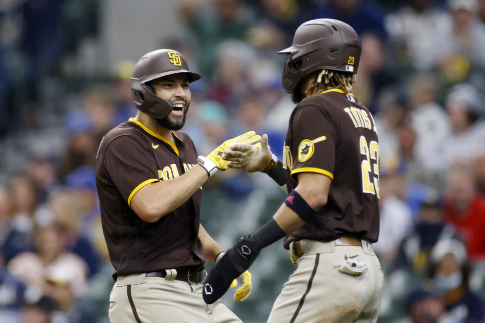 San Diego Padres first baseman Eric Hosmer (30) celebrates with Fernando Tatis Jr. (23) after a home run.  (Photo by Joe Robbins/Icon Sportswire via Getty Images)