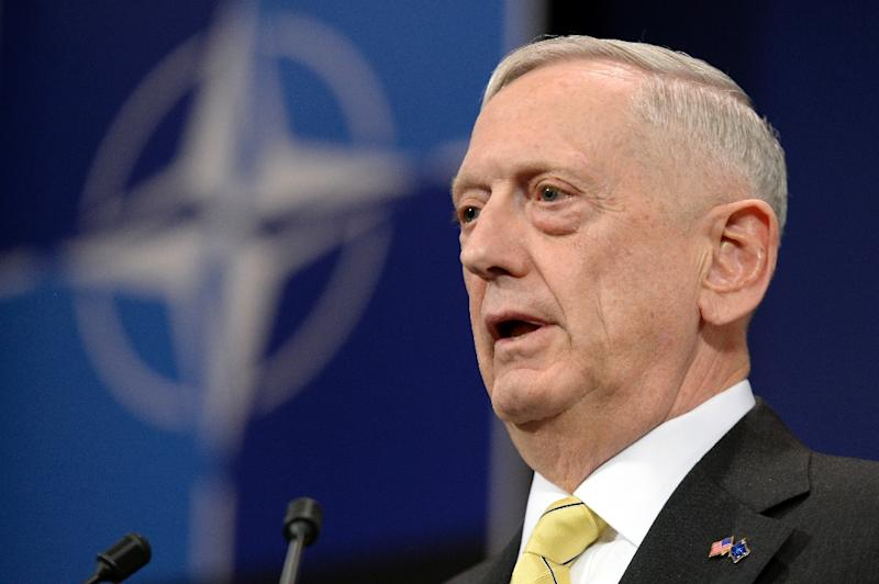 US Secretary of Defence James Mattis addresses a press conference following the NATO Defence Ministers' meeting at the NATO headquarters in Brussels, on February 16, 2017