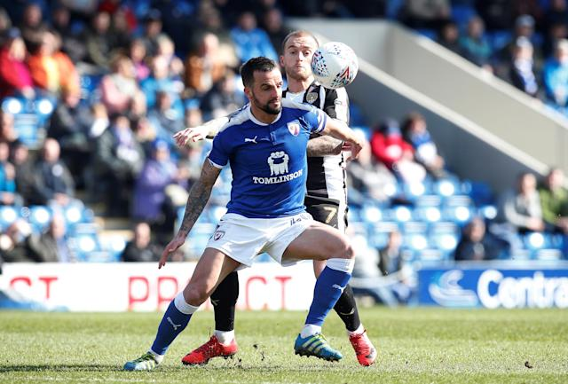 "Soccer Football - League Two - Chesterfield vs Notts County - Proact Stadium, Chesterfield, Britain - March 25, 2018 Chesterfield's Robbie Weir (L) in action with Notts County's Lewis Alessandra Action Images/Craig Brough EDITORIAL USE ONLY. No use with unauthorized audio, video, data, fixture lists, club/league logos or ""live"" services. Online in-match use limited to 75 images, no video emulation. No use in betting, games or single club/league/player publications. Please contact your account representative for further details."