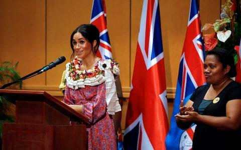 The Duchess of Sussex announces two ACU grants in Fiji - Credit: Reuters