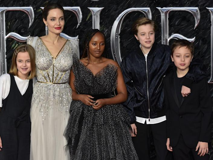 angelina jolie with four of her six kids at the maleficent premiere in 2019