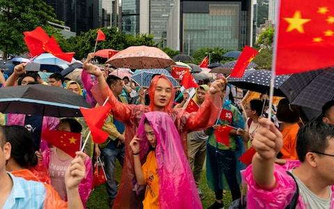 Pro-Beijing supporters hold national flag during a pro-government rally at Tamar Park on Saturday - Credit: Billy H.C. Kwok/Getty Images AsiaPac