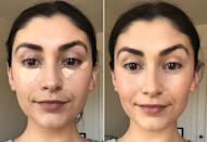 """<p>Back when YouTube was the go-to place for makeup tutorials, I was taught to apply my concealer in an upside-down triangle (see: left side). This helps brighten your entire eye area. Back when I used to wear a full face of makeup - as in, 2019 - this is the way I did it. </p> <p>But according to the makeup enthusiasts on TikTok, the new """"correct"""" way to apply your concealer is only to the inner and outer corner of your eye (see: right side). This helps draw the eye up and lifts your cheekbones.</p> <p>It's subtle, but I have to admit that I noticed a slight difference after blending in my <span>Pur 4-in-1 Sculpting Concealer</span> ($22) with a damp makeup sponge. But we're not done yet. </p>"""