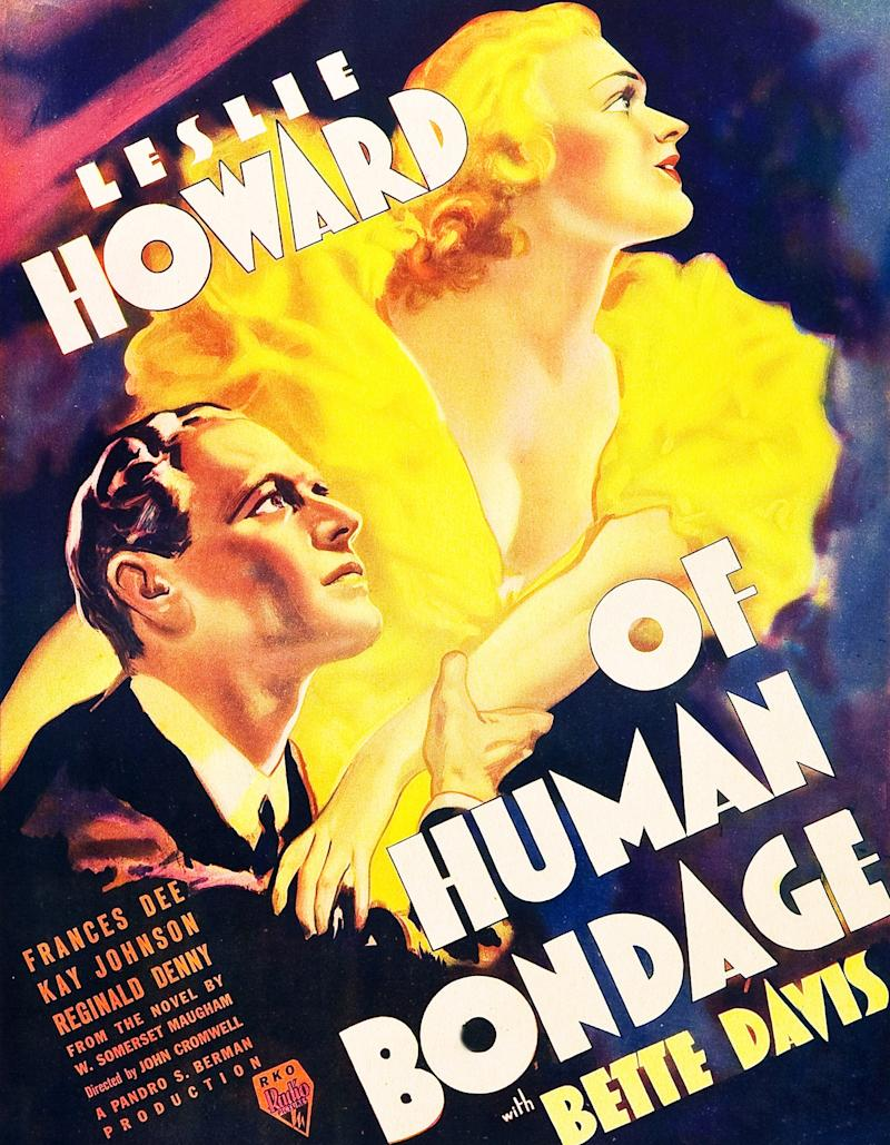 Of Human Bondage, poster, l-r: Leslie Howard, Bette Davis on window card, 1934. (Photo by LMPC via Getty Images)