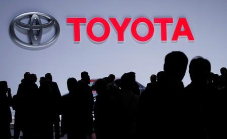 FILE PHOTO: A Toyota logo is displayed at the 89th Geneva International Motor Show