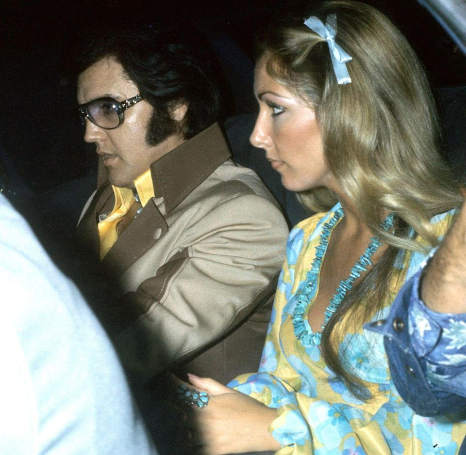 """<p>Presley met model and former beauty queen Linda Thompson while he was separated from Priscilla in 1972. The two started dating soon after and were together for four years. Thompson called it quits in 1976, citing his unhealthy relationship with prescription drugs as part of the reason why.</p><p> """"Once I realized that Elvis took sleep medication and sometimes some other things that maybe interacted with that, I was like having a newborn baby. I would sit and watch him until he fell asleep. Then I would get up all through the night and had a pattern of wakefulness to check on his breathing and make sure he was okay, because sometimes he wasn't,"""" she said at the <a href=""""https://www.express.co.uk/entertainment/music/1231181/Elvis-Presley-girlfriend-Linda-Thompson-relationship-die-death"""" rel=""""nofollow noopener"""" target=""""_blank"""" data-ylk=""""slk:Las Vegas Elvis Festival"""" class=""""link rapid-noclick-resp"""">Las Vegas Elvis Festival</a>. """"It was exhausting, I have to admit. And, also, just emotionally exhausting because this is a person that I loved more than my own life.""""</p>"""