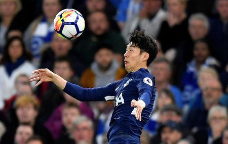 FILE PHOTO: Soccer Football - Premier League - Brighton & Hove Albion vs Tottenham Hotspur - The American Express Community Stadium, Brighton, Britain - April 17, 2018 Tottenham's Son Heung-min in action REUTERS/Toby Melville