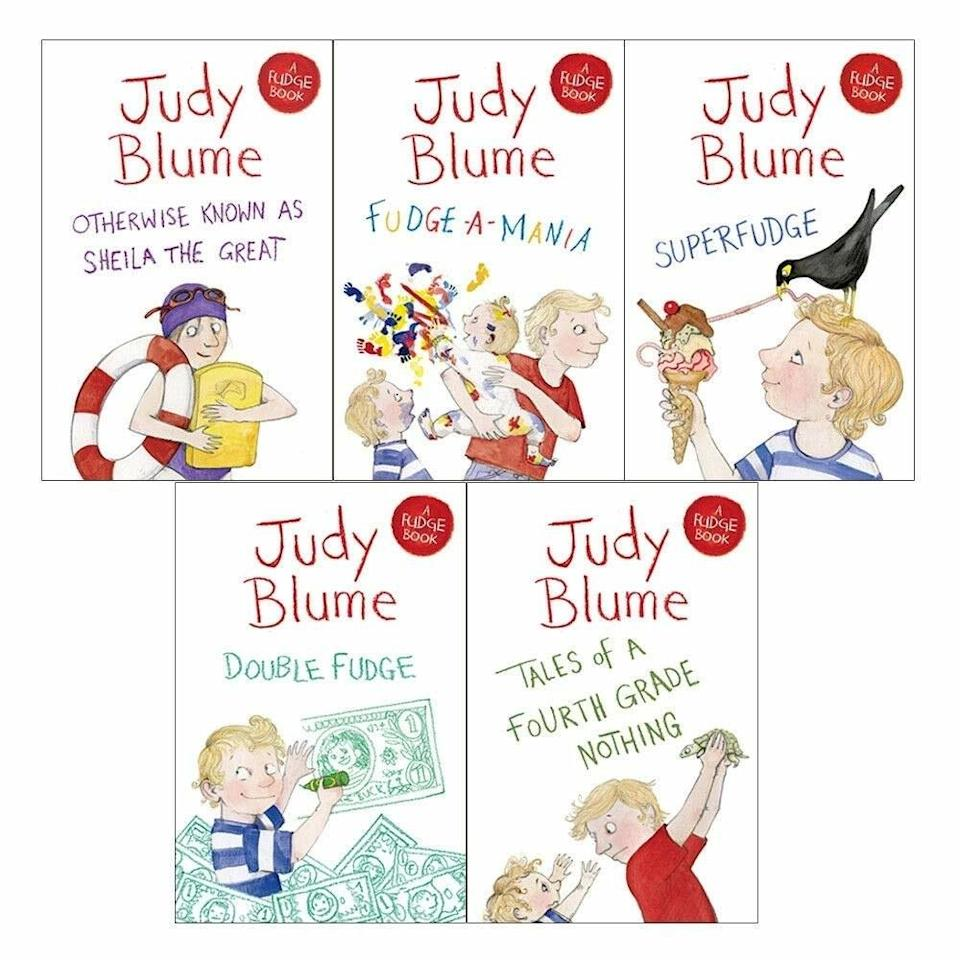 Collage of five book covers, showcasing two blonde boys, one is Peter, the other his younger brother Fudge