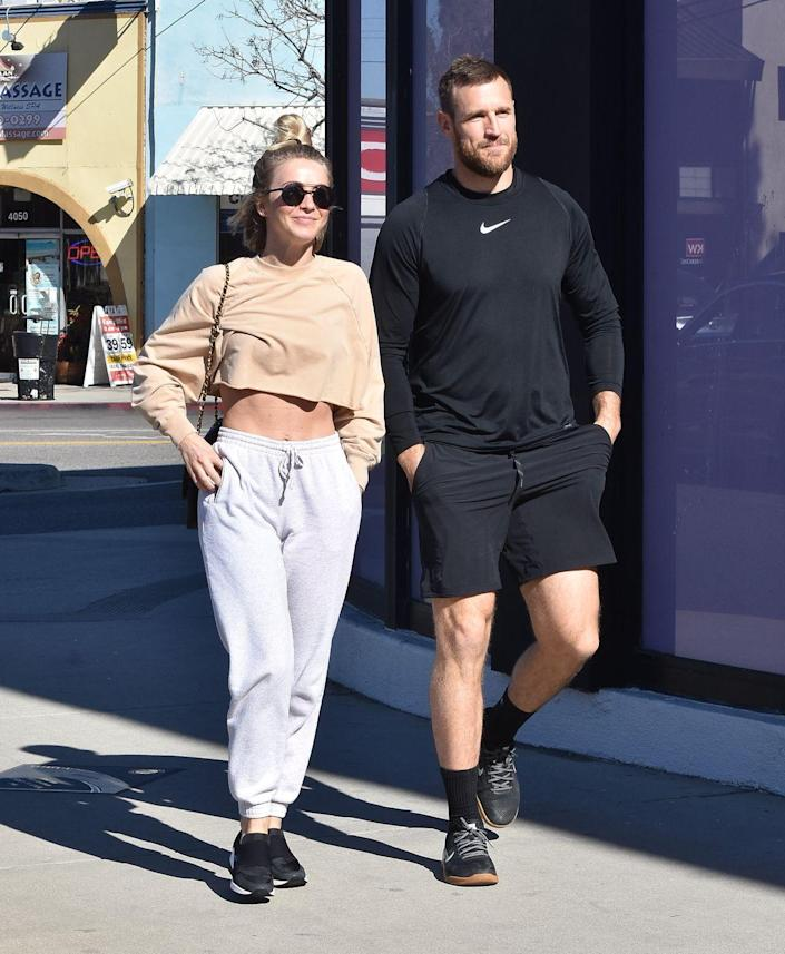 """<p>The pandemic has caused strain on new relationships and even more strain on relatively new marriages. In July, dancer Julianne Hough and her husband, NHL player Brooks Laich, <a href=""""https://www.usmagazine.com/celebrity-news/news/julianne-hough-brooks-laich-split-after-nearly-3-years-of-marriage/"""" rel=""""nofollow noopener"""" target=""""_blank"""" data-ylk=""""slk:announced their separation"""" class=""""link rapid-noclick-resp"""">announced their separation</a> after nearly three years of marriage. </p><p>Rumors of their split swirled when they spoke out about quarantining separately, but they have since reunited during COVID-19, and Brooks was spotted at Julianne's birthday bash recently.</p>"""