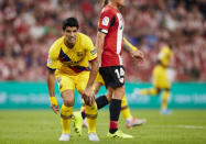 Barcelona's Luis Suarez reacts during the Spanish La Liga soccer match between Athletic Bilbao and FC Barcelona at San Mames stadium in Bilbao, northern Spain, Friday, Aug. 16, 2019. (AP Photo/Ion Alcoba Beitia)