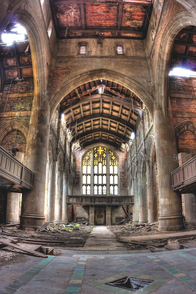 """""""Economic factors often account for the demise of sacred structures,"""" says Joffe of the City Methodist Church in Gary, Indiana, which had a congregation of 3,000 in its heyday. """"Like other U.S. structures in the book, it suggests a flip side to the positivist, always growing and improving American dream,"""" he adds. The church fell victim to the collapse of the steel industry and the city's population moving to the suburbs. """"It seems that this project succeeded, until changes in economic fortunes spelled doom,"""" says Joffe. """"So we see the poignancy of its ruined state now, given the high hopes of the original constructors."""""""