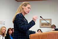 In this Jan. 31, 2013 file photo, Rep. Bette Grande testifies before the House Human Services Committee in Bismarck, N.D. The North Dakota Senate approved two anti-abortion bills Friday, March 15, 2013, one banning abortions as early as six weeks into a pregnancy and another prohibiting the procedure because of genetic defects such as Down syndrome. North Dakota would be the only state in the U.S. to adopt either of those measures. rande, a Republican from Fargo, introduced both bills. Grande, a Republican from Fargo who introduced both bills. (AP Photo/James MacPherson)