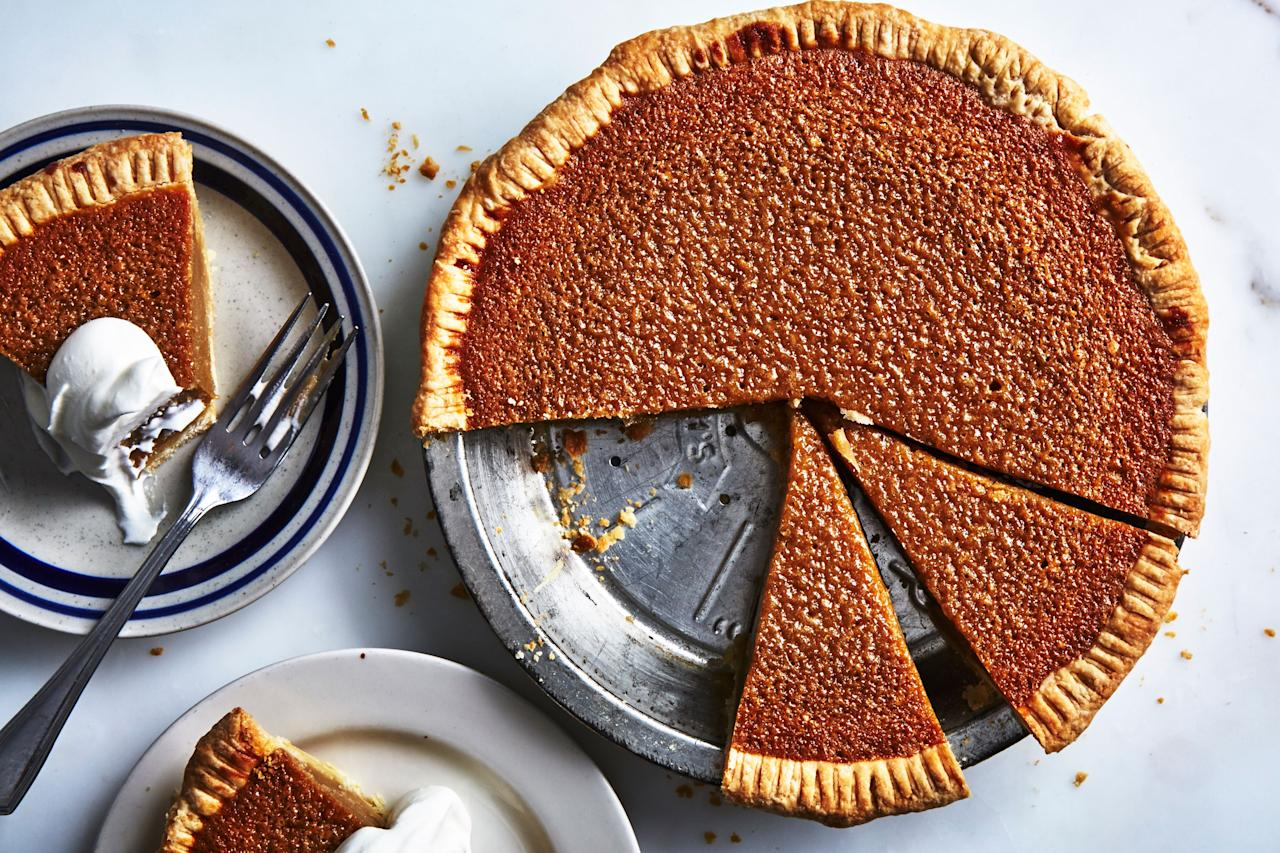"""There's no maple syrup in this pie recipe (not a mistake), but the finished product will remind you of maple-sugar candies thanks to the caramel notes in the brown sugar. <a href=""""https://www.bonappetit.com/recipe/margarets-maple-sugar-pie?mbid=synd_yahoo_rss"""">See recipe.</a>"""