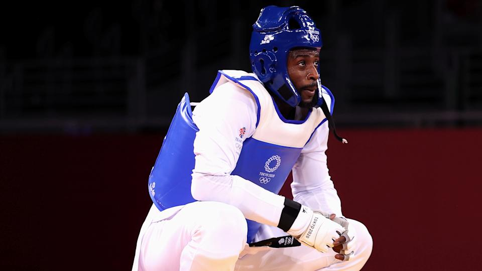 Mahama Cho of Britain reacts after competing in Tokyo