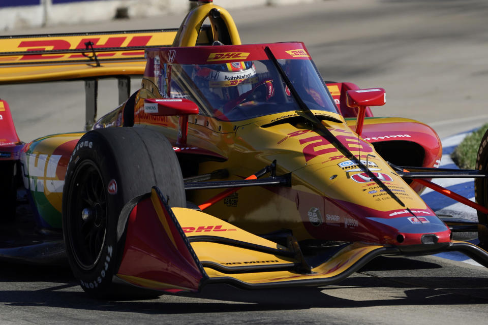 Zach Veach drives during practice for the IndyCar Detroit Grand Prix auto racing doubleheader on Belle Isle in Detroit, Friday, June 11, 2021. (AP Photo/Paul Sancya)